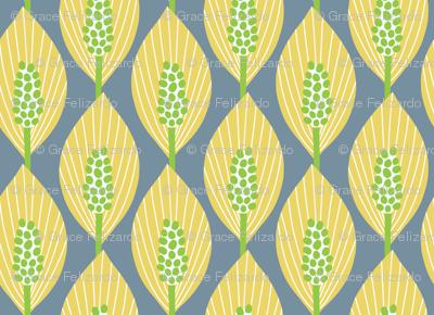 mod peace lilies (yellow, green, blue-gray)