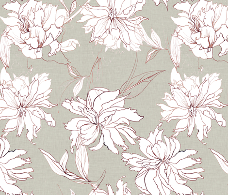 peonies drawing canvas texture fabric by katarina on Spoonflower - custom fabric