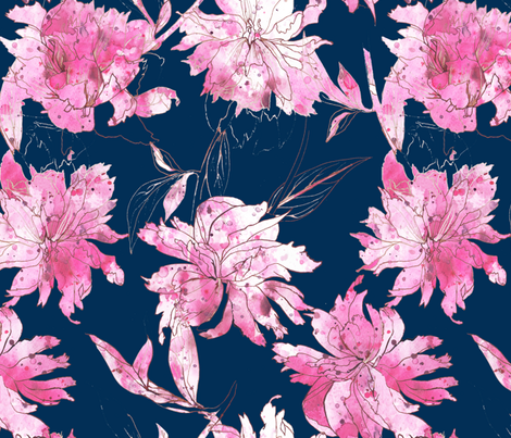 peonies ink drawing and watercolor fabric by katarina on Spoonflower - custom fabric