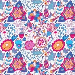 floral pattern with funny animals