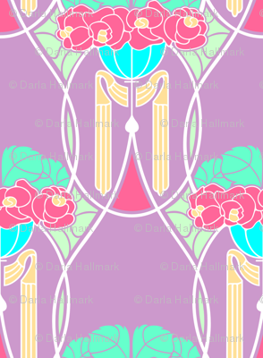 Art Nouveau with peonies