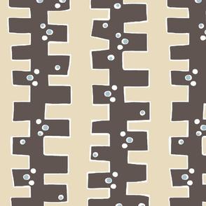 Mod 'drop box' stripe (chocolate, cream + smokey sky))