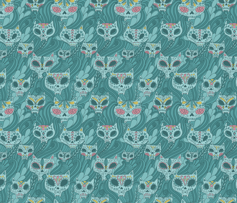 Calavera cats. Sugar skull. fabric by kostolom3000 on Spoonflower - custom fabric