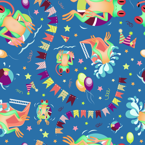 Frog_Pool_Party fabric by nerkquirks on Spoonflower - custom fabric