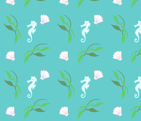 Seahorse & Shells fabric by painter13 on Spoonflower - custom fabric