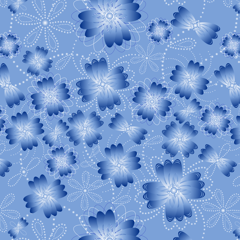 Azure Pearlblossoms fabric by jjtrends on Spoonflower - custom fabric