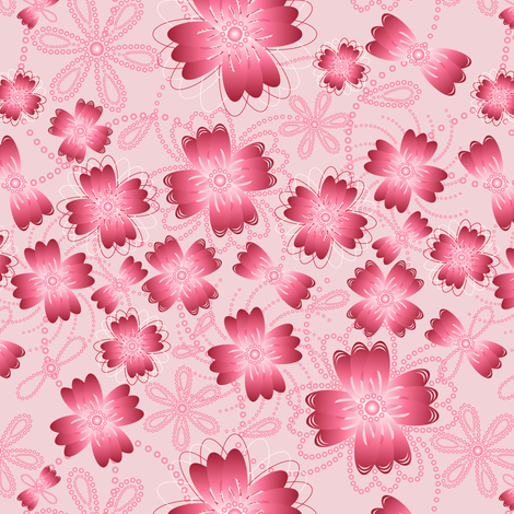 Crimson Pearlblossoms (lt.) fabric by jjtrends on Spoonflower - custom fabric