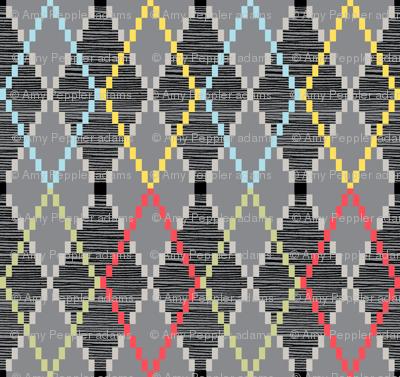 Penny Loafer (8-Bit Gray) || pixel pixelated 80s argyle preppy fashion geek chic nerd geometric diamonds