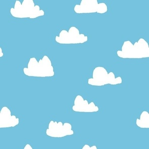 clouds // soft pastel baby blue clouds illustration pattern for baby nursery