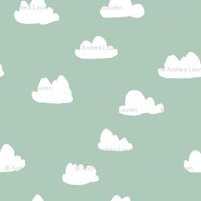 clouds // cambridge blue green pastel gender neutral mint fabric