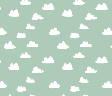 clouds // cambridge blue green pastel gender neutral mint fabric fabric by andrea_lauren on Spoonflower - custom fabric