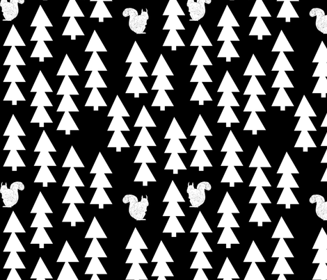 woodland squirrel  fabric// black and white triangle trees woodland forest fir tree forest fabric by andrea_lauren on Spoonflower - custom fabric