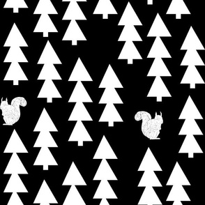 woodland squirrel  fabric// black and white triangle trees woodland forest fir tree forest