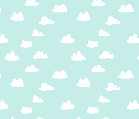 clouds // pale sky blue pastel baby nursery design fabric by andrea_lauren on Spoonflower - custom fabric