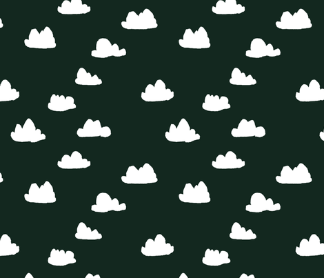 clouds // very dark green clouds fabric fabric by andrea_lauren on Spoonflower - custom fabric