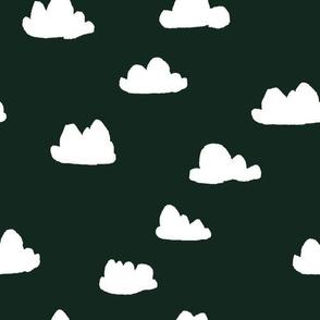 clouds // very dark green clouds fabric