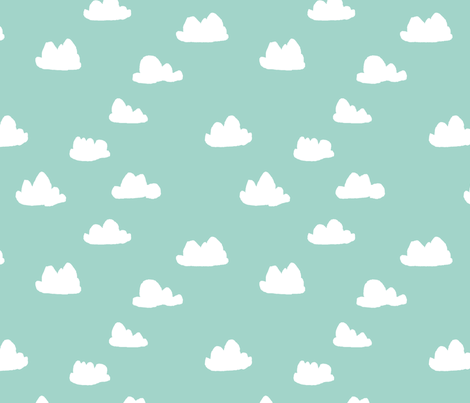 clouds mint green pastel gender neutral fabrics fabric andrea lauren spoonflower. Black Bedroom Furniture Sets. Home Design Ideas