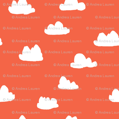 clouds // coral and white clouds for sweet little girls trendy girls home decor