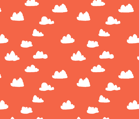 clouds // coral and white clouds for sweet little girls trendy girls home decor fabric by andrea_lauren on Spoonflower - custom fabric
