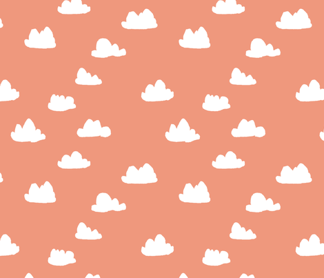 clouds // tea rose pastel coral peach clouds design for home decor textiles fabric by andrea_lauren on Spoonflower - custom fabric
