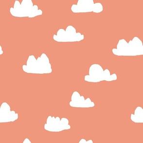 clouds // tea rose pastel coral peach clouds design for home decor textiles
