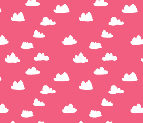 clouds // bright pink girly clouds design for textiles and baby nursery projects fabric by andrea_lauren on Spoonflower - custom fabric
