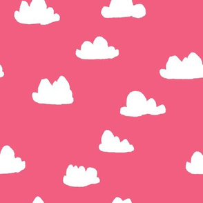 clouds // bright pink girly clouds design for textiles and baby nursery projects