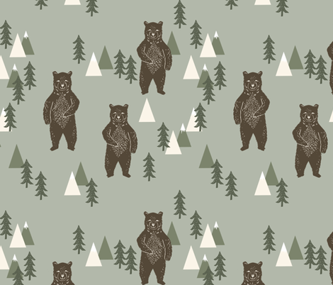 forest bear // camping trees woodland forest kids  fabric by andrea_lauren on Spoonflower - custom fabric