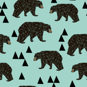 geometric bear // mint gender neutral cool scandi kids design featuring woodland bear and triangles