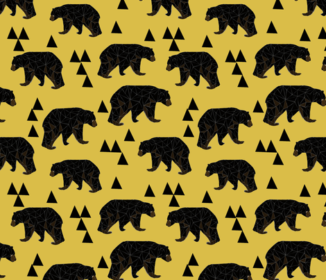 geometric bear // mustard trendy gender neutral camping woodland geo bear with triangles for cool hipster kids clothes fabric by andrea_lauren on Spoonflower - custom fabric