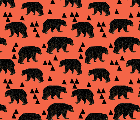 geometric bear // coral geo bear with triangles  fabric by andrea_lauren on Spoonflower - custom fabric