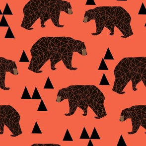 geometric bear // coral geo bear with triangles
