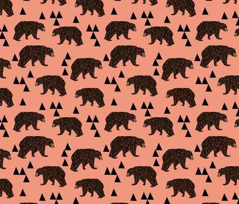 geometric bear // tea rose light coral girly bear print fabric by andrea_lauren on Spoonflower - custom fabric