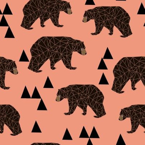 geometric bear // tea rose light coral girly bear print