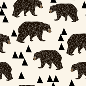 geo bear // cream geo trendy hipster bear woodland kids nursery baby design