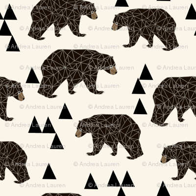 geo bear fabric // cream geo trendy hipster bear woodland kids nursery baby design