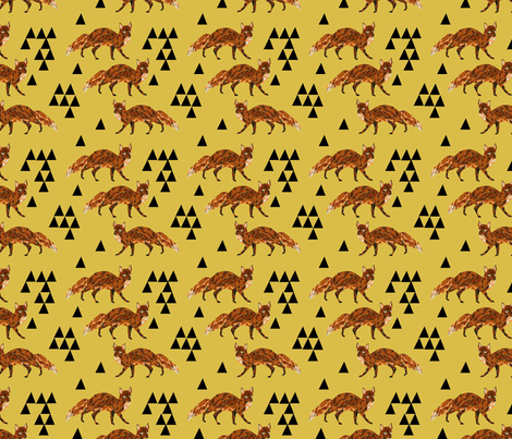 fox // geometric fox geo mustard triangles kids nursery baby woodland fox quilt fox bedding fabric by andrea_lauren on Spoonflower - custom fabric