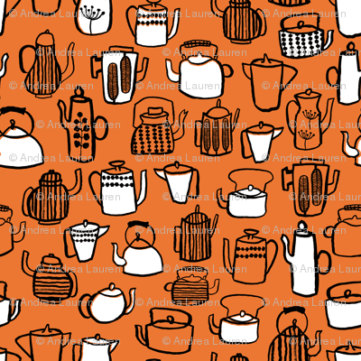 Teapots - Orange/White/Black by Andrea Lauren
