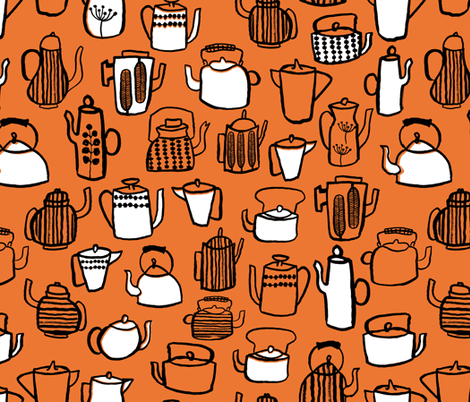 Teapots - Orange/White/Black by Andrea Lauren fabric by andrea_lauren on Spoonflower - custom fabric