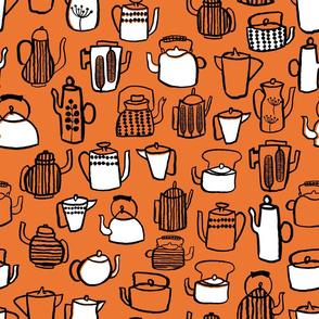 Teapots - Orange/White/Black by Andrea Lauren