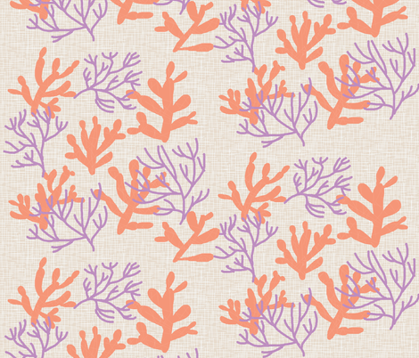 coral linen fabric by maja_studio on Spoonflower - custom fabric