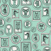 animal frames // woodland portrait mint cute woodland nursery baby quilt baby bedding crib sheet sweet animals