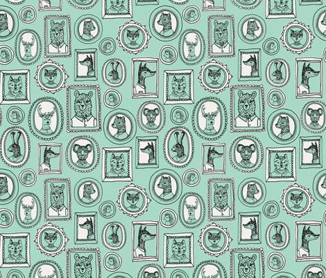 animal frames // woodland portrait mint cute woodland nursery baby quilt baby bedding crib sheet sweet animals fabric by andrea_lauren on Spoonflower - custom fabric