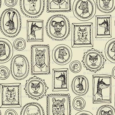 woodland frames // cream  fox rabbit bear hand-drawn illustration by andrea lauren