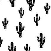 Black Cactus - White Background