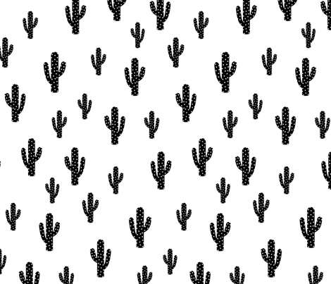 Black Cactus - White Background fabric by kimsa on Spoonflower - custom fabric