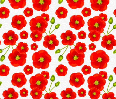 Red poppy flowers fabric by art_of_sun on Spoonflower - custom fabric