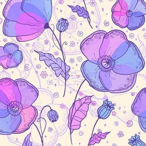 Violet poppy flowers