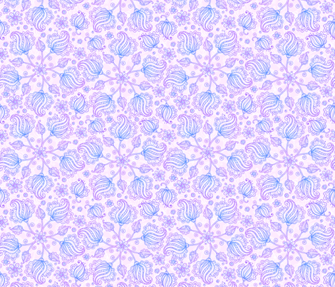 Violet doodles pattern fabric by art_of_sun on Spoonflower - custom fabric
