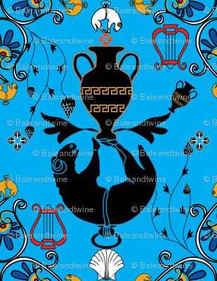 Greek Myth Blue BT Smaller Pattern